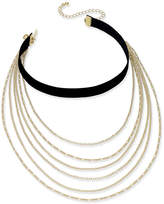 INC International Concepts Gold-Tone Multi-Layer Chain and Black Velvet Choker Necklace, Created for Macy's