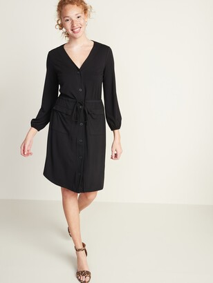 Old Navy Waist-Defined Ponte-Knit Utility Dress for Women