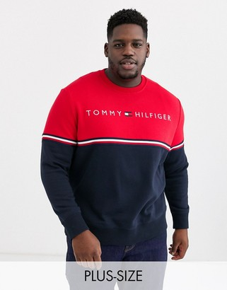 Tommy Hilfiger Big & Tall dougless crew sweater in red / navy