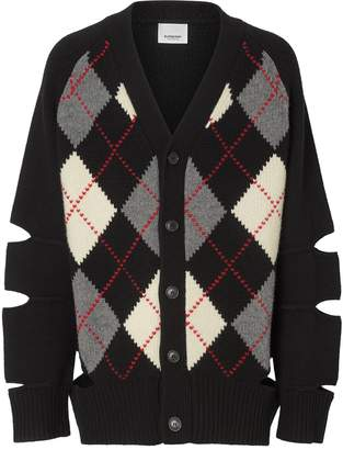 Burberry Cut-out Detail Merino Wool Cashmere Cardigan