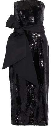 Brandon Maxwell Strapless Bow-detailed Sequined Crepe Midi Dress