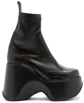 Marques Almeida Square-toe Leather Platform Ankle Boots - Black