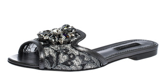 Dolce & Gabbana Grey Lace Jeweled Embellishment Flat Slides Size 36