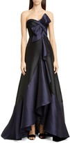 Marchesa Strapless Mikado High/Low Gown