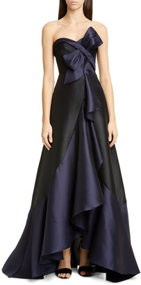 Marchesa Strapless Mikado High/Low Gown
