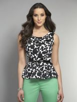 New York & Co. Peplum Floral Top with Belt
