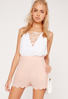 Missguided Scallop Edge Crepe Shorts Pink