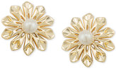 Carolee Gold-Tone Imitation Pearl Flower Clip-On Stud Earrings