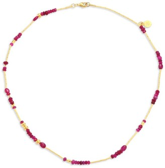 Gurhan Delicate Rain Ruby & 24K Yellow Gold Beaded Necklace