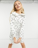 Thumbnail for your product : New Look poplin mini dress with collar in white polka dot