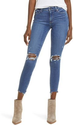 Paige Hoxton Ripped Chewed Hem Ankle Skinny Jeans