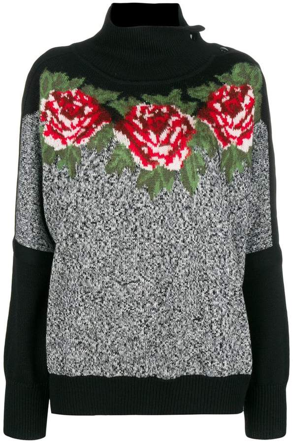 Philosophy di Lorenzo Serafini rose intarsia knit jumper