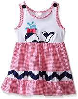 Youngland Girls' Pink and White Seersucker Dress With Whale Applique and Navy Chevron Trim
