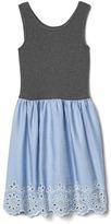 Eyelet chambray tank dress