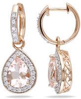 Concerto .5 CT Diamond TW and Morganite 14k Pink Gold Drop Earrings