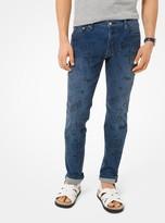 Michael Kors Parker Slim-Fit Printed Stretch-Cotton Jeans