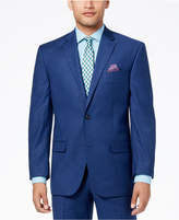 Sean John Men's Classic-Fit Stretch Solid Blue Textured-Grid Suit Jacket