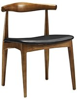 LexMod Hans Wegner Style Elbow Dining Side Chair with Faux Leather Seat