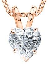 Houston Diamond District 2 Carat 14K Rose Gold Heart Diamond Solitaire Pendant Necklace Color SI1 Clarity