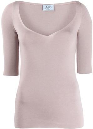 Prada V-neck knitted top
