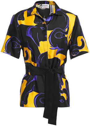 Lanvin Belted Printed Silk-twill Top