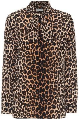 Saint Laurent Leopard-print silk blouse