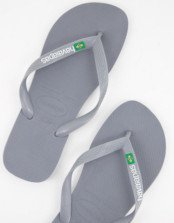 Thumbnail for your product : Havaianas brasil logo flip flops in grey