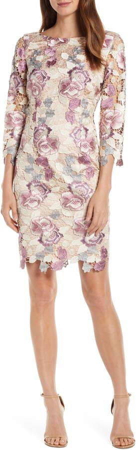 Eliza J Embroidered Lace Cocktail Sheath Dress