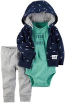 Carter's Baby Boy Space Bodysuit, Print Hooded Cardigan & Pants Set