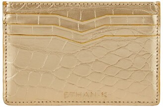 Ethan K Crocodile Leather Card Holder