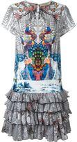Piccione Piccione Piccione.Piccione - peacock print ruffle dress - women - Silk - 38