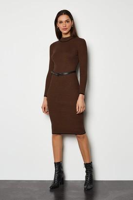 Karen Millen Bodycon Belted Stripe Midi Dress