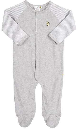 Barneys New York Infants' Solid & Striped Footed Coverall - Gray