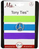 Mia Tony Hair Ties with Charms, Neon Purple, Neon Green, Neon Blue with Peace Sign