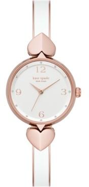 Kate Spade Women's Hollis Rose Gold-Tone Stainless Steel & White Enamel Bangle Bracelet Watch 30mm