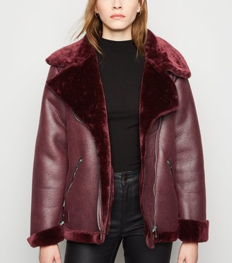 New Look Sunshine Soul Faux Fur Aviator Jacket