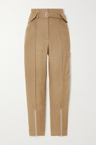 IRO Tria Cropped Belted Linen And Cotton-blend Straight-leg Pants