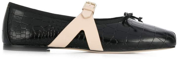 Giambattista Valli croco-embossed ballerina shoes