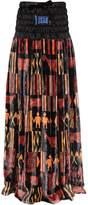 Stella Jean Boxing Satin & Printed Velvet Long Skirt