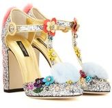 Dolce & Gabbana Fur-trimmed Embellished Glitter Pumps
