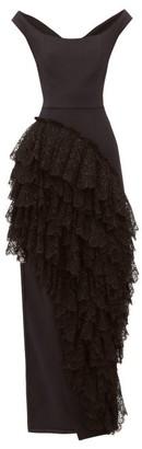 Emilio De La Morena Ruffled Cotton-blend Crepe Gown - Black