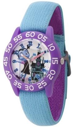 Disney Vampirina Girls' Purple Plastic Time Teacher Watch, Reversible Blue and Purple Nylon Strap