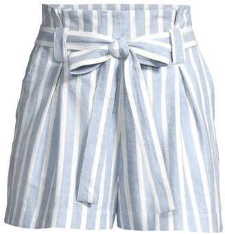 L'Agence Alex Striped Linen-Blend Paper-Bag Shorts