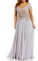 Terani Couture Plus Short-Sleeve Beaded Lace Gown