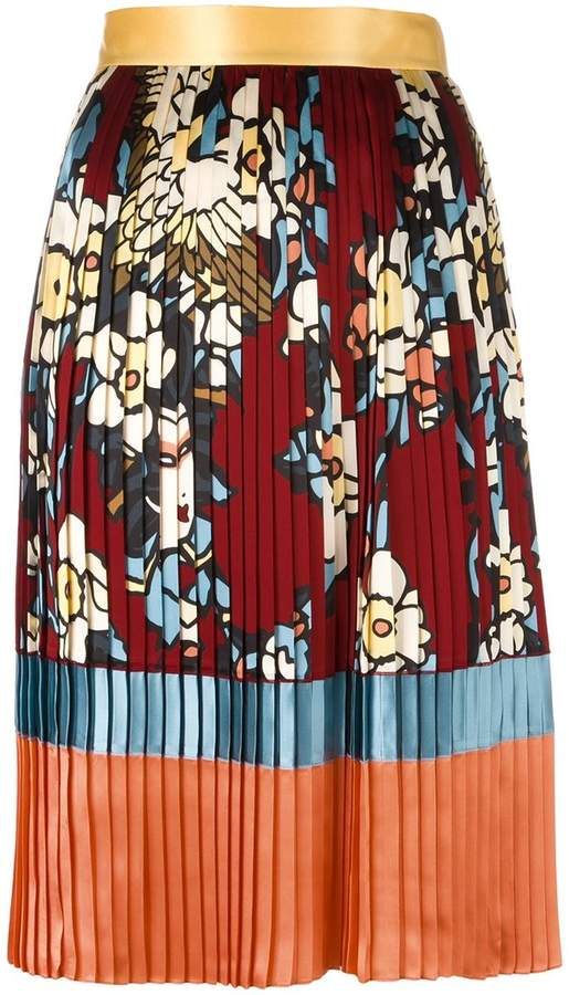 DSQUARED2 'Cherry Blossom' pleated mid-length skirt