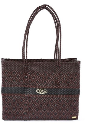 Lolas Bag Aztec Black Burgundy Travel Tote Bag With Clutch