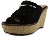 Franco Sarto A-candace Women Open Toe Suede Black Wedge Sandal.