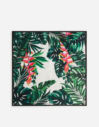 Dolce & Gabbana Foulard In Poplin With Lobster Claw Plant Print: 70 X 70cm- 27.5 X 27.5 Inches