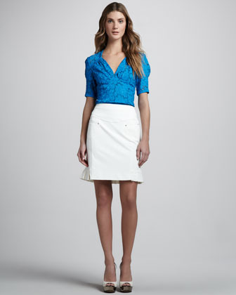 Nanette Lepore Coyote Pleat-Back Skirt
