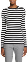 Michael Kors Long-Sleeve Striped Top, White